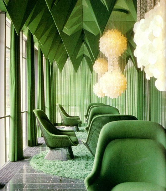 Color connects us blog archive green fabric interior for Green room retail